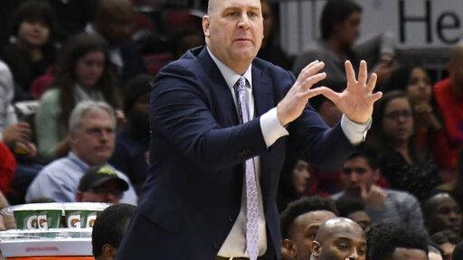 Chicago Bulls coach Jim Boylen gestures to his team during the second half of an NBA basketball game against the New Orleans Pelicans on Wednesday, Feb. 6, 2019, in Chicago. The Pelicans won 125-120.