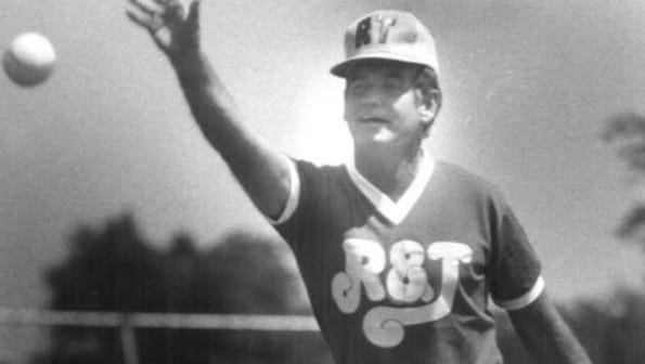 Gov. Bob Ray pitched for the Register & Tribune newsroom softball team in 1979.