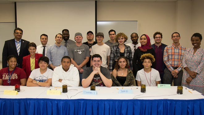 Brain Bowl finalists, faculty and staff pose for a photo at the IRSC main campus in Fort Pierce.