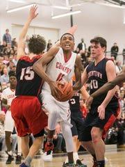 York Country Day's Jalen Gorham, center, seen here in a file photo, and his Greyhounds teammates are in search of their third straight District 3 Class 1-A title. They'll take on Berks Christian in a semifinal contest Monday at 8 p.m. at Lower Dauphin High School. DISPATCH FILE PHOTO