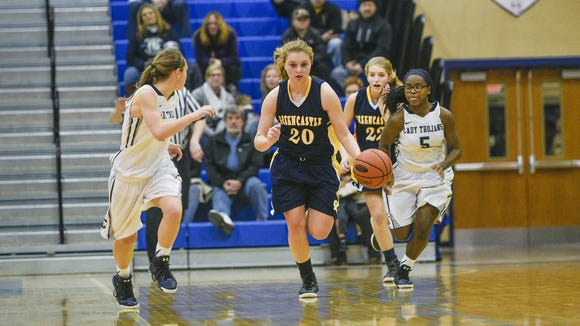 Meghan Hirneisen, center, has been one of Greencastle's top three players all year, and she, along with the rest of the Blue Devils, will be put to the test on Tuesday against Cumberland Valley in the Mid Penn Conference semifinals.
