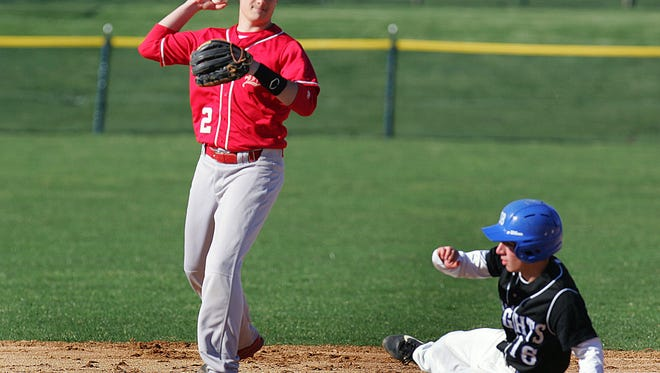 Gill St. Bernard's James Raia is out at second base as Bernards' Jordan Tantleff looks to throw to first after the out in Wednesday?s game. ED PAGLIARINI/Special to the Courier News Gill St. Bernard's high school #16 James Raia is forced out at second. Bernards high school #2 Jordan Tantleff game was held at Gill St. Bernards high school. Wednsday April 16, 2014. Photo by Ed Pagliarini BRI 0417 BSBL Gill St. Bernards - Bernards