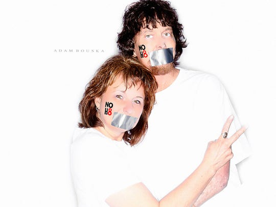 The last picture taken of Laura and Doug together during a photo shoot for the NOH8 Campaign at Stagebrush Theatre in April 2014. Doug felt terrible but felt so strongly about equal rights that he wanted to go.