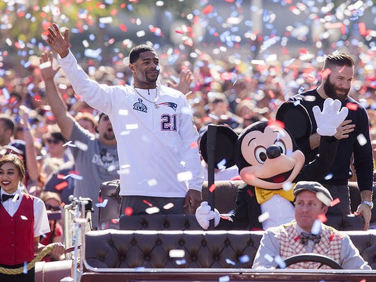 Vicksburg native Malcolm Butler is celebrated at a parade at Disney World after sealing the New England Patriots' Super Bowl win with an interception. Butler has since become a Pro Bowl player for the Patriots.