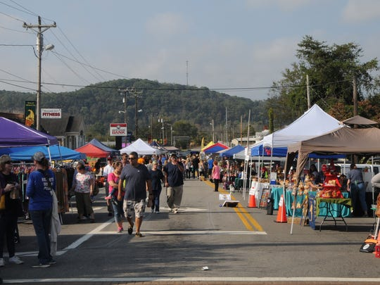 Music on Main in Ashland City had many vendors along with the great music. Main Street and Cumberland Street, pictured here, were closed to traffic and filled with booths and shoppers all day.
