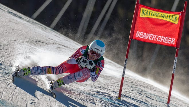 Julia Mancuso races during the women's downhill at the World Cup at Beaver Creek Mountain in Colorado on Friday.