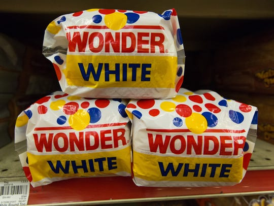 Pictured is Wonder white bread, a product containing