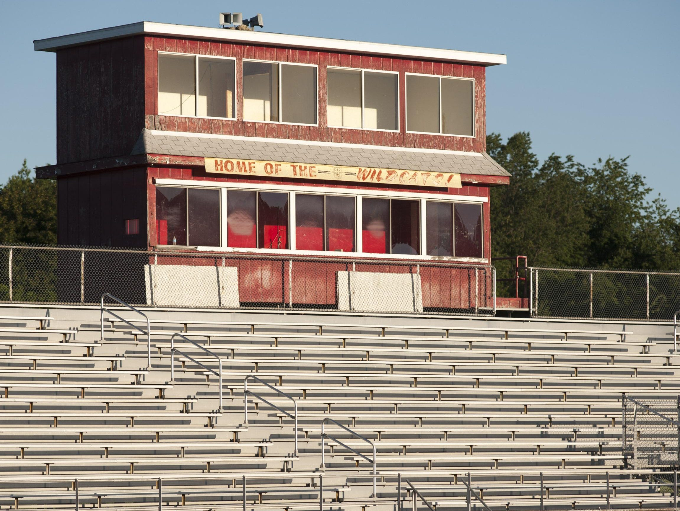 The home stands and press box at Albion High School. The high school closed in 2013.