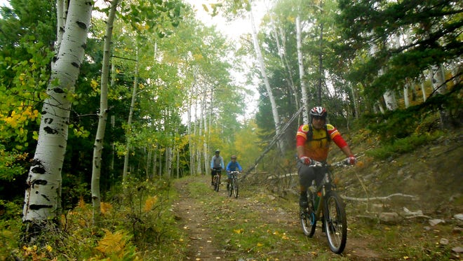 Mountain bikers ride in the 2014 Chuska Challenge in the Chuska Mountains.