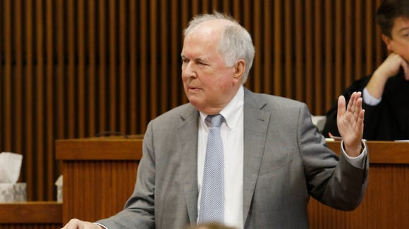 Defense attorney Bill Baxley gives closing arguments in the Alabama Speaker Mike Hubbard trial on Friday, June 10, 2016  in Opelika, Ala. Hubbard faces felony ethics charges accusing him of using his political positions to make money and seek financial favors, investments and employment from lobbyists and people with business before the Alabama Legislature.  (Todd J. Van Emst/Opelika-Auburn News via AP, Pool)