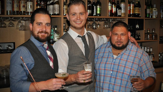 The three finalists for the Indiana State Museum's 2015 Cocktail Contest. From left, Jason Foust, Ryan Puckett, and Eli Sanchez.