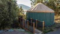 Most yurts accommodate four to six people, and contain a bed, a bunk bed and a table