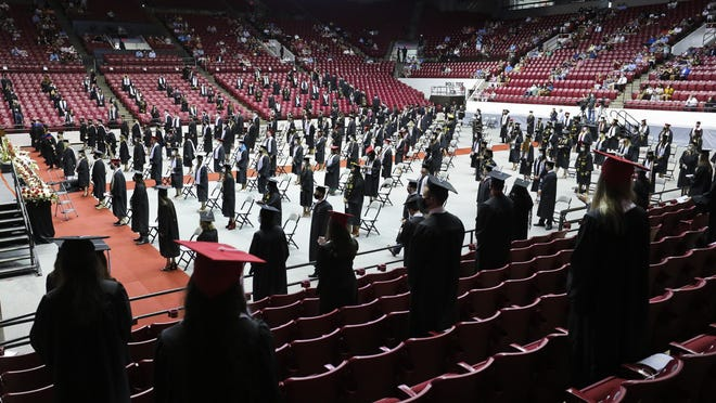 The University of Alabama held joint graduation exercises for spring and summer graduates Friday, July 31, 2020, in Coleman Coliseum. Social distancing and mask wearing were enforced. More than 3,000 graduates will participate in nine ceremonies that will continue through Sunday.