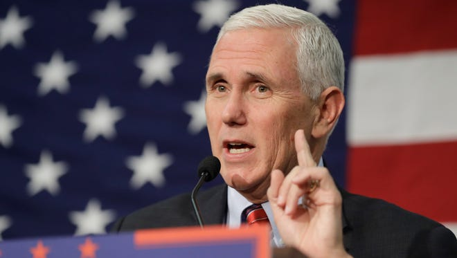 "In this Sept. 30, 2016 photo, Republican vice presidential candidate, Indiana Gov. Mike Pence speaks in Fort Wayne, Ind. Pence musters all of his Midwestern earnestness as he describes Donald Trump as ""a man of faith."" He says the Republican nominee is ""a man I've prayed with and gotten to know on a personal level."" The description, in an interview with The Associated Press, stands in sharp relief to Trump's public profile: a twice-divorced braggart who has boasted of his sexual exploits, flaunts his wealth, spews out crass insults and makes sweeping generalizations about whole races."