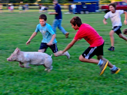Children run in excitement during the Greased Pig Contest at the Somerset County Fair in Princess Anne.