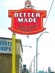 A rendering of the new Better Made sign, which is scheduled