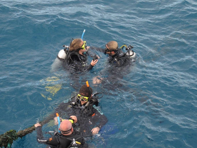 Scuba divers prepare to dive to the Great Barrier Reef