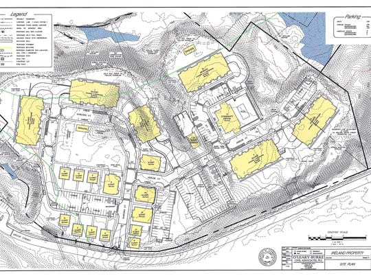 Site plan for a 232-unit housing development north of Grove Street in Burlington. The project is proposed by S.D. Ireland, which formerly operated a concrete plant at the site.
