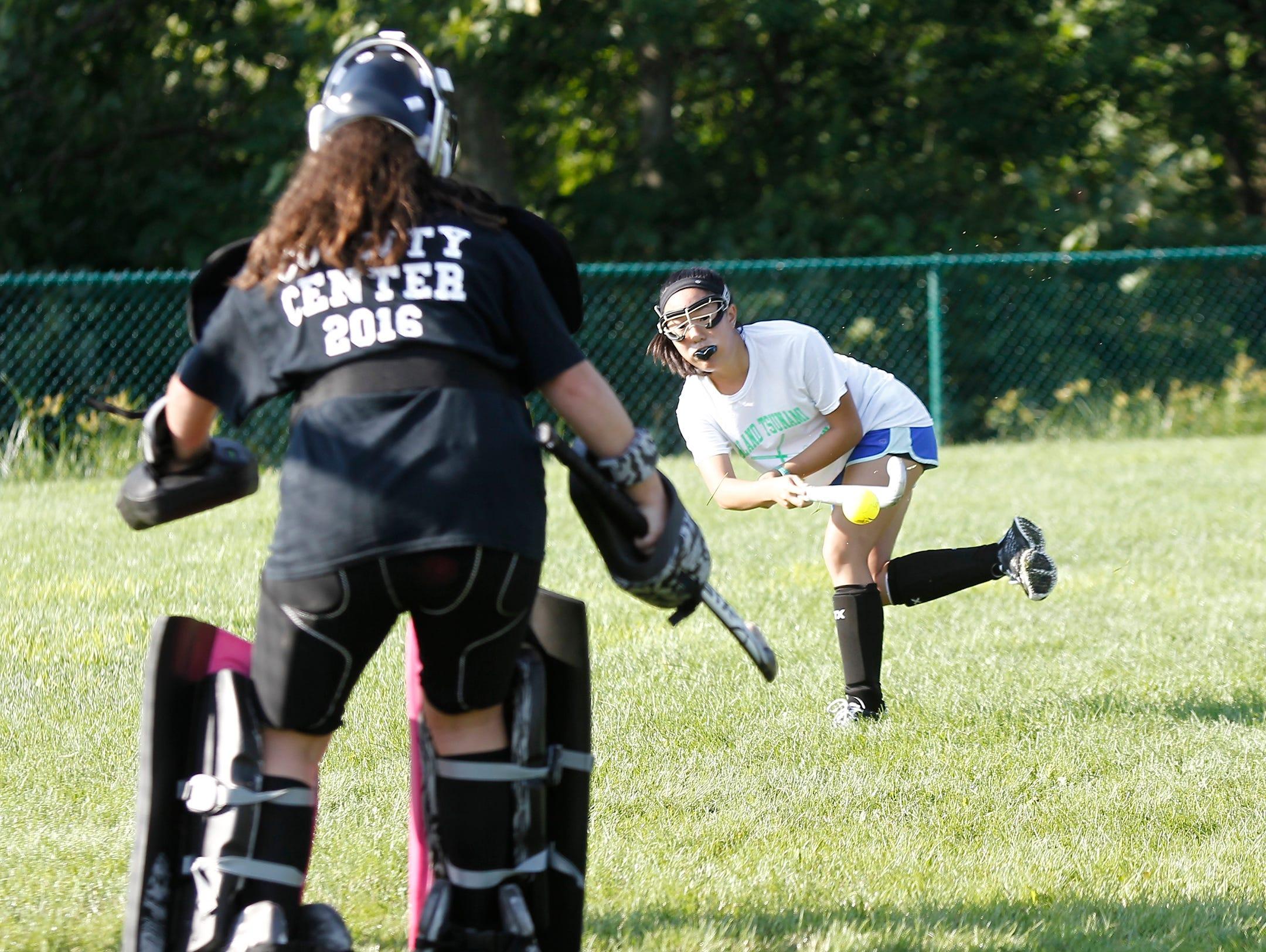Nanuet's Jes Klebek fires a shot on goal during field hockey practice at Nanuet High School in Nanuet on Thursday.