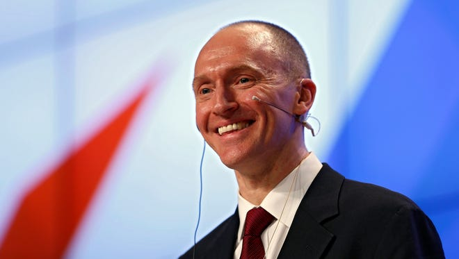Congressional investigators are seeking to questions Carter Page, a former advisor to President Trump's 2016 campaign, about his connections to Russia. This photo is from a speech Page gave in Moscow in December 2016.