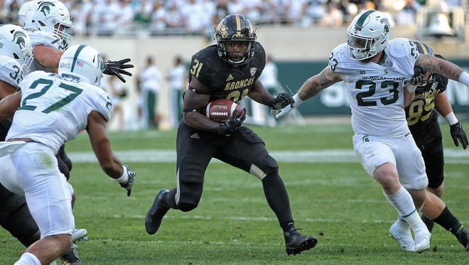 Western Michigan running back Jarvion Franklin runs the ball against Michigan State on Sept. 9.