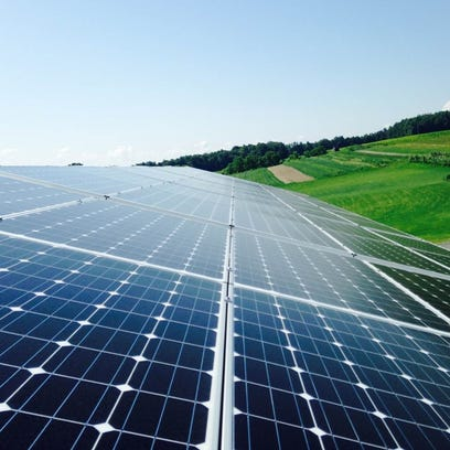 Solar panels are installed on the roof of the tasting room at Hunt Country Vineyards.