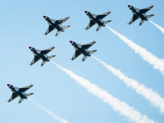 The U.S. Air Force Thunderbirds perform during the Maxwell Air Show at Maxwell Air Force Base in Montgomery on April 9. The Air Force, facing a shortage of pilots, is attempting to widen its pilot training pipeline by 25 percent to address stiffening competition for pilots nationwide.