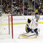 Goaltender Pekka Rinne will start for the Predators on Monday, his 18th in 20 games this season and ninth consecutive.