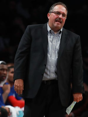 Detroit Pistons coach Stan Van Gundy reacts after a foul against the Brooklyn Nets on Nov. 2, 2016, in New York.