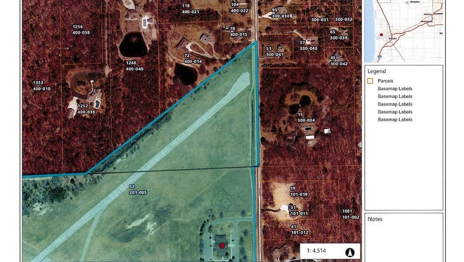 This map shows the 10-acre triangle of property that was donated by the Chamber of Commerce to Park Township to be used as part of the airport.