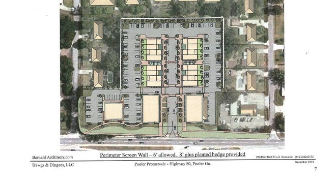 Site plans for Pooler Promenade, a hotly contested development on U.S. 80 in Pooler, were tabled on Monday.