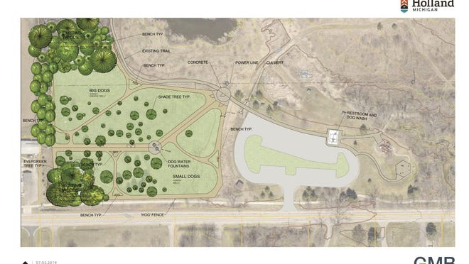 A map of the proposed dog park in the southwest corner of Van Raalte Farm Park shows the meadows where the separate areas for large and small dogs will be located and the parking lot where a restroom building and dog washing station will be built.