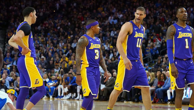 Los Angeles after a play by guard Isaiah Thomas (3) against the Golden State Warriors during the second quarter at Oracle Arena.