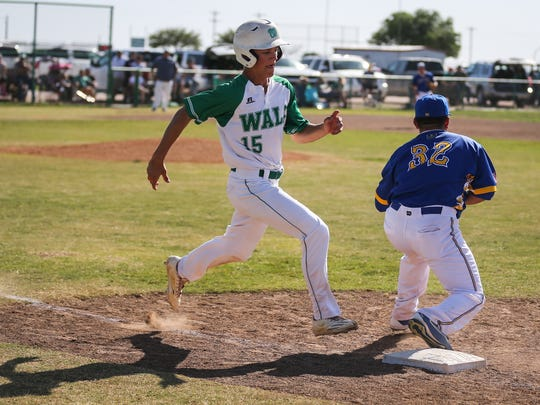 Wall's Caleb Heuertz (left) hit two home runs and drove in six runs in a 14-2 win against Sonora on Tuesday.