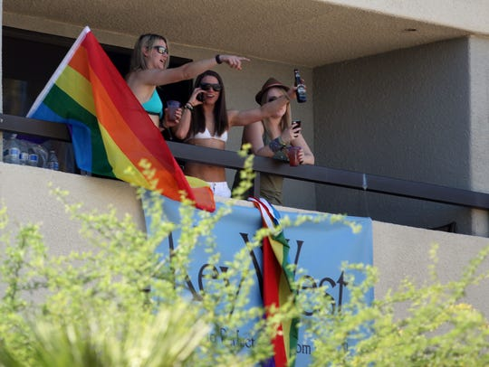 Women attend the Cabana Pool Party at the Palm Springs