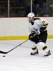 St. Norbert College junior Sean Campbell is the top-scoring defenseman for the Green Knights this season with 14 points (seven goals, seven assists).