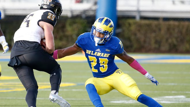 Delaware defensive back Nasir Adderley moves for a tackle against Towson in 2016.