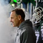 Michigan State Spartans head coach Mark Dantonio prior to the game against the Ohio State Buckeyes at Spartan Stadium.