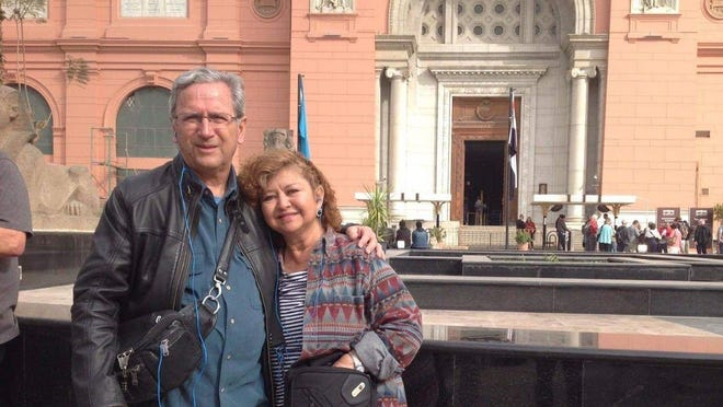 Steven Nolan and his wife, Adelina Camacho, of suburban West Palm Beach, on a tour March 1 in Egypt. Nolan died March 28 from the coronavirus.