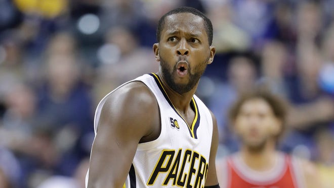 Indiana Pacers' C.J. Miles reacts after missing a shot to end the third quarter of an NBA basketball game against the Chicago Bulls, Saturday, Nov. 5, 2016, in Indianapolis. Indiana won 111-94.