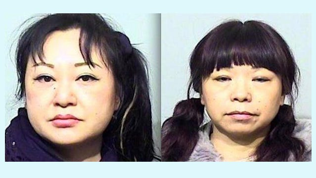 Seung Joo Myung, left, and Rong Wang, right, were indicted by a Cumberland County Grand Jury for promoting prostitution.