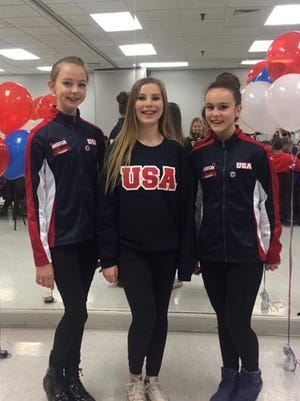 Off to international tap dancing competition are Alisa Zhavoronkova (left) from Northville, South Lyon resident Caroline Julian and Alison Wright of Durand.