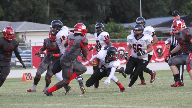 North Fort Myers and South Fort Myers compete in a pre-season game at North Fort Myers High School on Thursday.