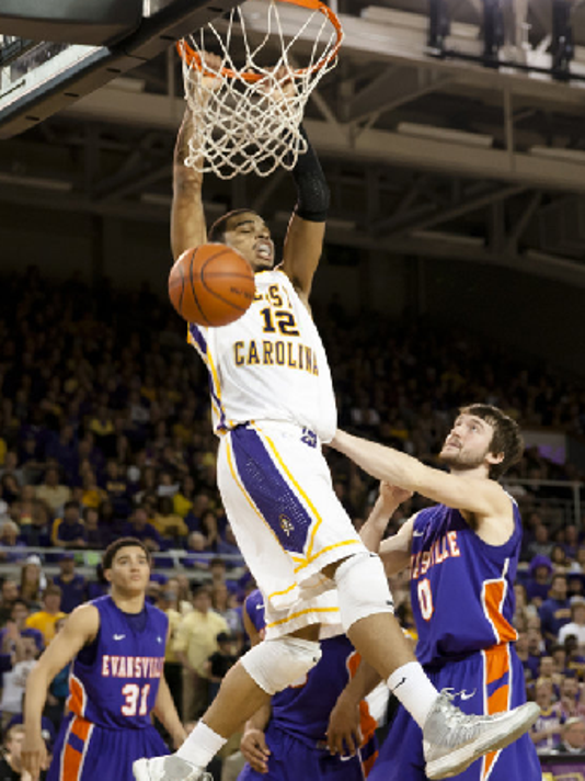 For as many shots as UE missed at the rim Saturday, East Carolina had an answer of its own -- many of them dunks. Photo by ECU Athleics.