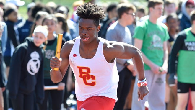 Rahmir Johnson of Bergen Catholic won the state sectional North Non-Public A in the 100 with a time of 10.93.