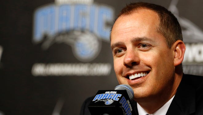 May 23, 2016; Orlando, FL, USA; Orlando Magic head coach Frank Vogel is introduced as the new head coach as he talks with media during a press conference at Amway Arena. Mandatory Credit: Kim Klement-USA TODAY Sports