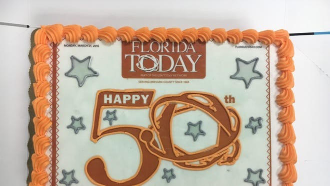 This image serves as the nameplate for FLORIDA TODAY on the occasion of our 50th anniversary. The cake is (was) real, the brainchild of page designer Tyler Remmel. I hope it tasted as good as it looks,