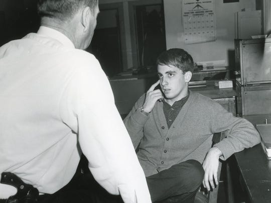 Dana Wolfe Jr. is questioned by the Knoxville Police Department after the shooting of University of Tennessee student Marnell Goodman, 18. Truck driver William Douglas Willett Jr. fired a .22 caliber pistol when Goodman and other students pelted his produce truck with snowballs on Cumberland Avenue on Feb. 1, 1965.
