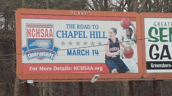 This NCHSAA is billboard is just before the Greensboro Coliseum exit along Interstate 40.