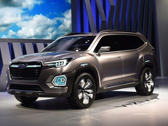 The Subaru VIZIV-7 SUV concept is unveiled at the Los